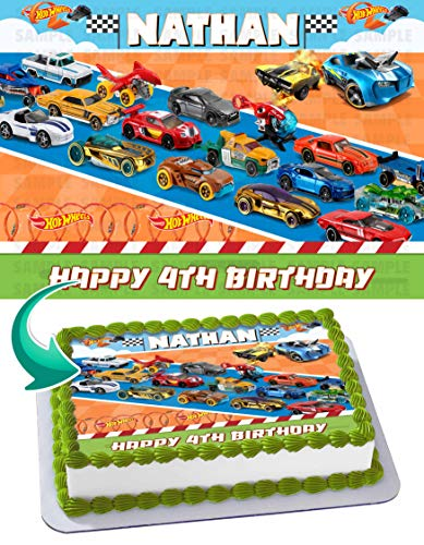 Hot Wheels Edible Cake Topper Personalized Birthday 1/4