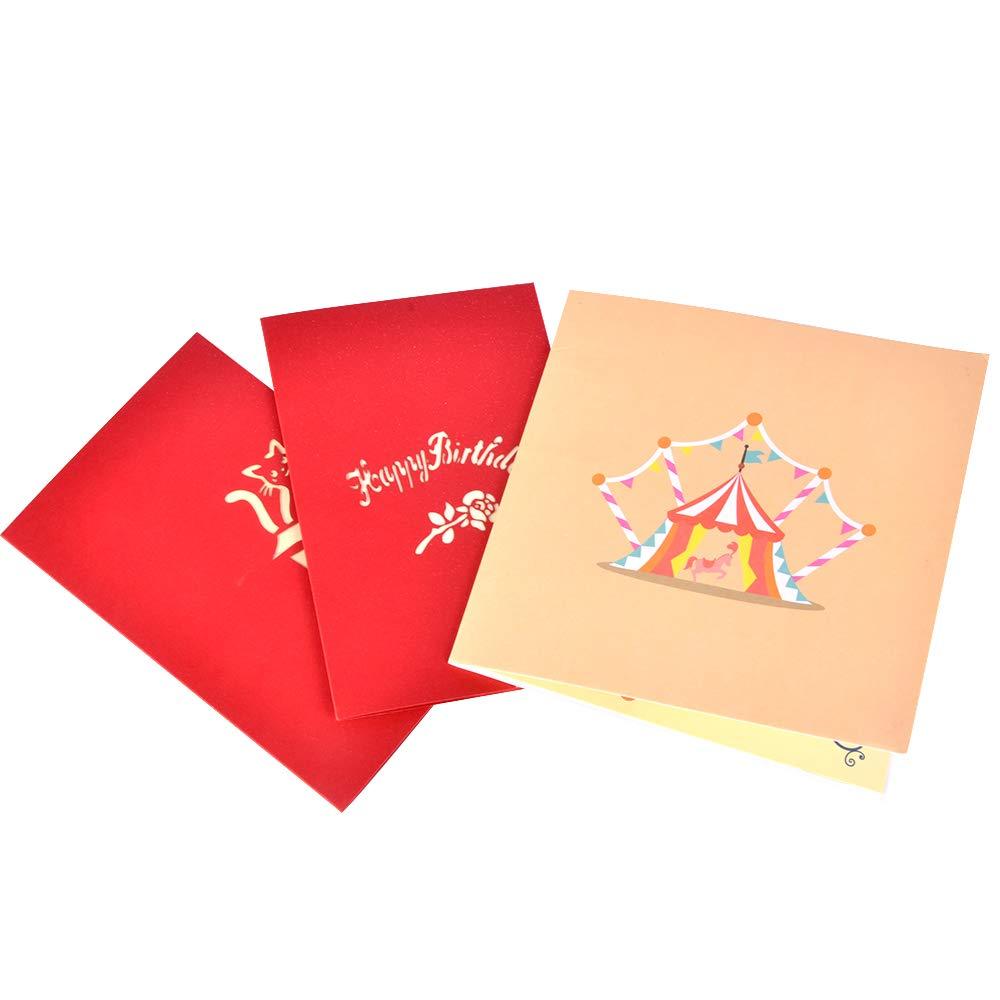 Racksoy 3D Geburtstagskarten 3 Stücke Pop Up Karten Katzenkarte| Geschenkkarte| Clown-Karte zum Kindergeburtstag- wünderbare Glückwünschkarte für Geburtstagsgrüße