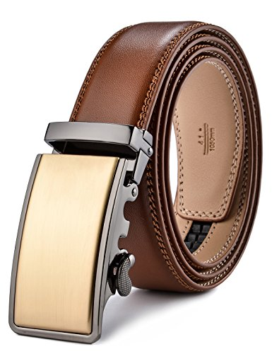 (plyesxale Men's Leather Ratchet Dress Belt- Length is Adjustable - Delicate Gift Box (Waist Size:26-36