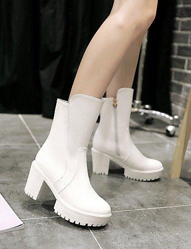 Eu39 Bureau Gros Fermé Blanc Femme Habillé Bout Cn39 amp; Bottes Noir Arrondi Uk6 White Talon Chaussures Travail Décontracté Xzz Rouge us8 FAEqUfwx