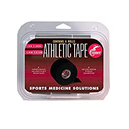 Cramer Team Color Athletic Tape, Pack of 6 White Athlete Taping Rolls, Alternative to Ankle Brace or Compression Sleeve, Athletic Training First Aid Supplies, 1.5\
