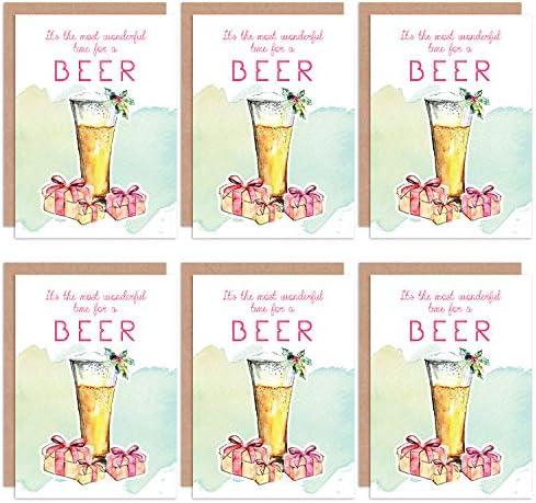 Christmas Cards 6 Pack - Beer Alcohol Funny Tipsy Set Xmas Cristo Cerveza Gracioso: Amazon.es: Hogar