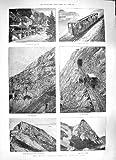 old-print Print 1889 Mount Pilatus Railway Lucerne Alpnach Eselwand 428P195