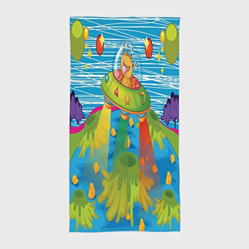 iPrint Cotton Microfiber Hotel SPA Beach Pool Bath Hand Towel,Outer Space Decor,For Kids Scary Monster in Ufo on Planet Solar System Galaxy Funky Back,Green Blue,for Kids, Teens, and Adults by iPrint