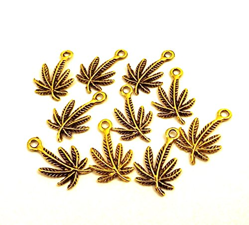 Set of Ten (10) Gold Tone Pewter Small Marijuana Leaf Charms