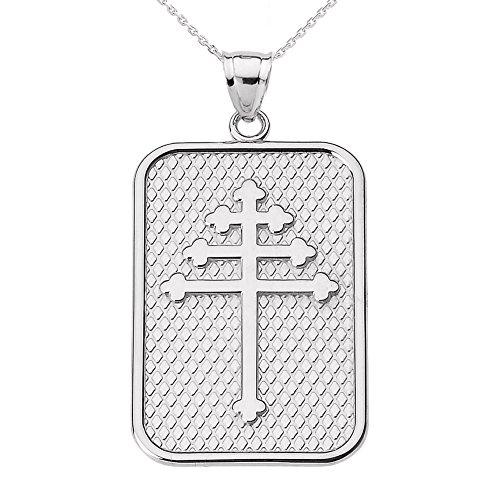 Collier Femme Pendentif 14 Ct Or Blanc Maronite Croix (Livré avec une 45cm Chaîne)