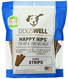 Dogswell Happy Hips Duck Jerky Strip Dog Treat, 12 Ounce (2 Pack)