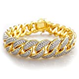 18k Gold Plated Iced Out Cuban Link 8 inch Bracelet by Niv's Bling - Classic Italian look with a Hip Hop Twist.