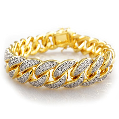 18k Gold Plated Iced Out Cuban Link 8 inch Bracelet by Niv's Bling - Classic Italian look with a Hip Hop Twist. by Niv's Bling