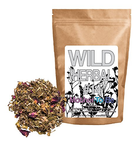 Wild Herbal Tea #14 Mother To Be Blend by Wild Foods - 8 Ingredient Tea with Raspberry leaf, Nettle, Spearmint, Ginger, Oatstraw, Rose petals, Lemon Balm, Chamomile, 100% Natural