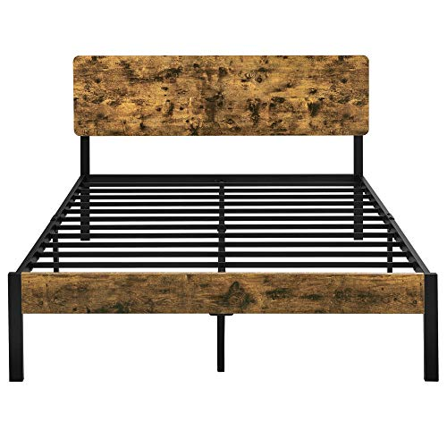 YAHEETECH Queen Size Vintage Style Metal Bed Frame with Wooden Headboard/Mattress Foundation/No Box Spring Needed/Under…