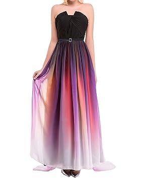 LaoZan Mujer Vestidos de Fiesta para Bodas Colores del Atardecer Bustier Elegante y Encantador - 4XL