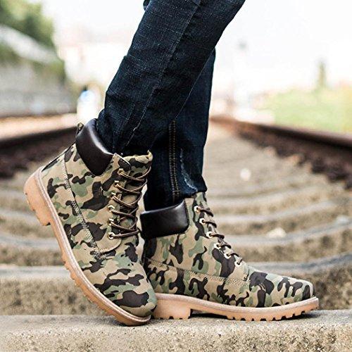 Transer® Herren Stiefel Casual Künstliche PU+Plastik Schuh (Bitte achten Sie auf die Größentabelle. Bitte eine Nummer größer bestellen. Vielen Dank!) Tarnung