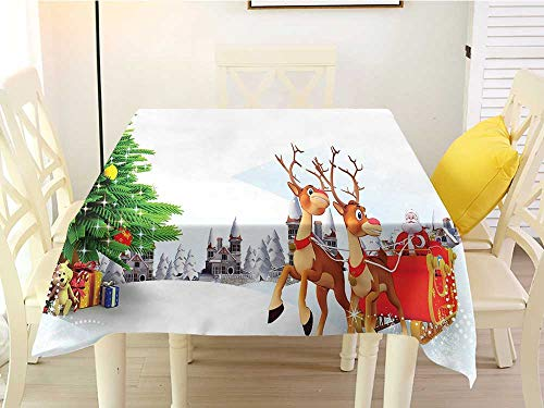 L'sWOW Square Tablecloth for 8 Chairs Santa Snow Covered Christmas Village with Cartoon Santa on His Sleigh Big Tree and Boxes Multicolor Easy 54 x 54 Inch (Terrys Village Santa)