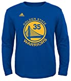 Adidas NBA Youth Kevin Durant Golden State Warriors Player Name and Number Long Sleeve Jersey T-Shirt, Youth Large, Royal