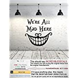 Alice in Wonderland Wall Decal Quote Vinyl Sticker Decals Quotes We're All Mad Here Quote Decal Cheshire Cat Wall Decor Nursery ZX69