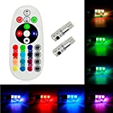 Efitty 2 x T10 194 168 W5W Car Wedge Reading Lamp 7 LED colors Bulb with Remote Control