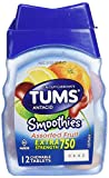 Tums Smoothies Extra Strength 750 Antacid with Calcium Supplement Calcium Assorted Fruit Flavored - 9 Travel/ Pocket Pack of 12 Soft Chewable Tablets (108 Tablets Total) -Tj 11