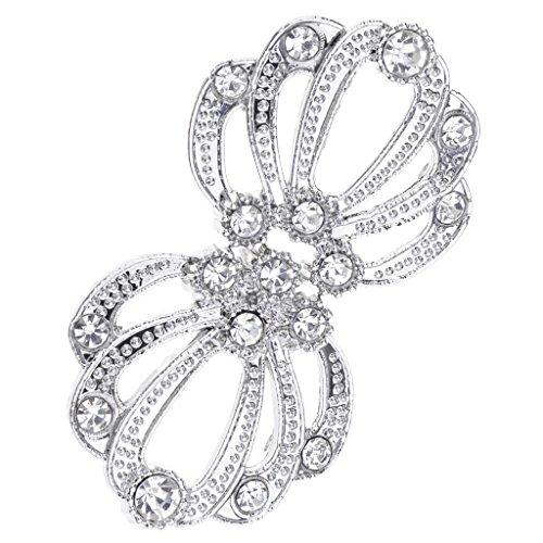 (Flameer Vintage Diamante Crystal Rhinestone Buckles Hook and Eye Clasps Sash Belt Decoration - Silver+White)