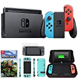 Nintendo Switch 32 GB Console w Neon Blue and Red Joy-Con HACSKABAA Switch Minecraft + Charging Case w Built-in Stand 10000mAh Battery + 2-Pack Screen Protector + Protective Skin