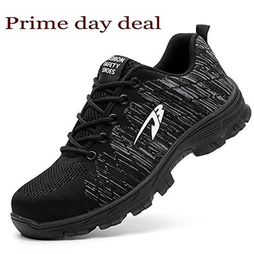 Comfortable Steel Toe Shoes - JACKSHIBO Steel Toe Work Shoes for Men Women Safety Shoes Breathable Industrial Construction Shoes Pure Black 10 Women/8.5 Men