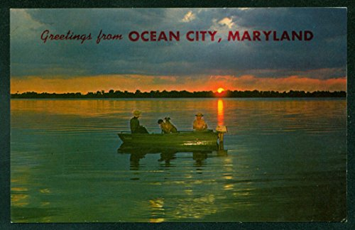 Ocean City Maryland Fishing Boat Fishermen DOGS Sunset Water Scene - Rate Tracking Flat Shipping Number