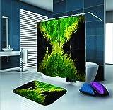 SARA NELL Jamaican Shower Curtain,Jamaican Flag,72X72In Polyester Fabric Shower Curtain Set 15.7X23.6In Flannel Non-Slip Floor Doormat Bath Rugs