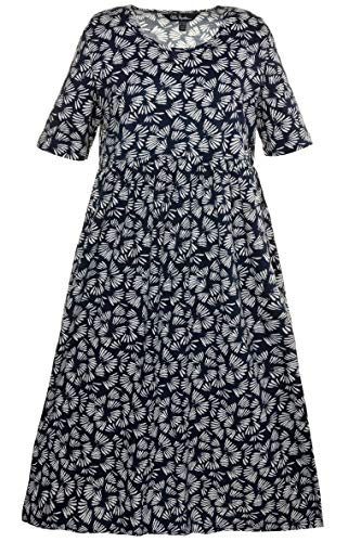 Dress Knit Shirred (Ulla Popken Women's Plus Size Fireworks Print Knit Dress Navy/White Multi 24/26 714101 90)