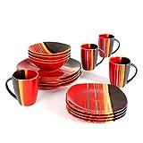 Gibson Home Trends 61590.16rm Bazaar Red 16-Piece Square Dinnerware Set, Red/Black/White/Orange Stripes