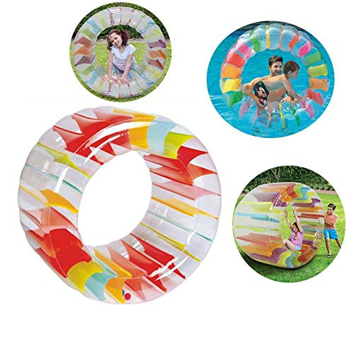 Hamkaw Roller Ball Toy Rainbow Inflatable Water Wheel Roller Float Lounger Pool Toy for Kids,Slide On Water, River, Lake, Grass, Swimming Pool, Water Park