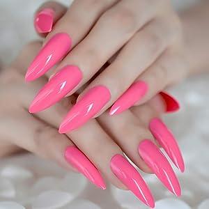 EchiQ - uñas postizas extra largas, color rosa cálido, puntas de Stiletto, puntas