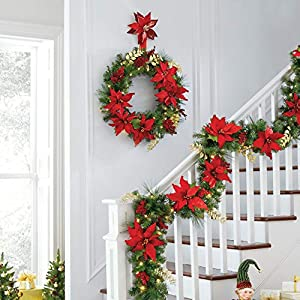 BrylaneHome Christmas Pre-Lit Poinsettia Garland Christmas Wreath, Red