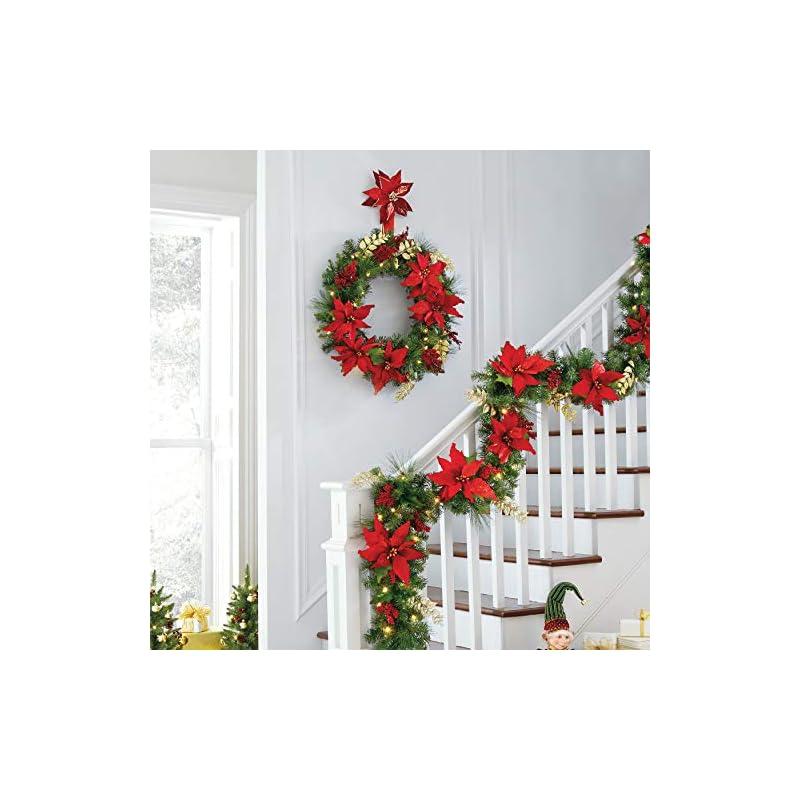 silk flower arrangements brylanehome christmas pre-lit poinsettia garland christmas wreath, red