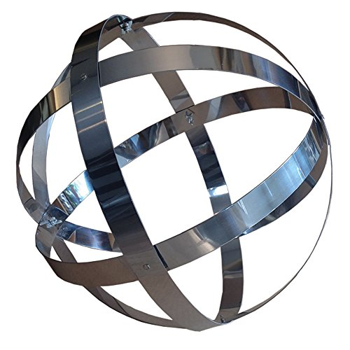Rome Stainless Steel Banded Garden Sphere, Silver