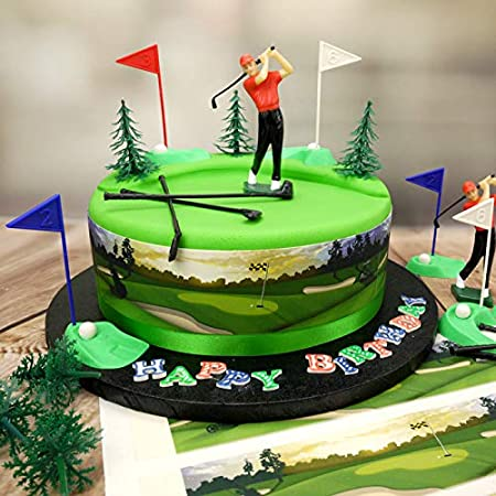 Miraculous Golf Cake Topper Kit Golfer Set Trees And Edible Golf Cake Birthday Cards Printable Trancafe Filternl