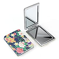 Womens Doodle Design Compact Pocket Mirror Set 2× Magnification + 1× Mirror, Pocket-size, Travel Mirror (FLOWER)