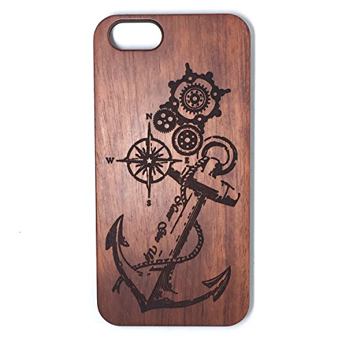 (For IPHONE 6S Case,BTHEONE New Arrival Handmade Hard Unique Natural Tree Wood Wooden Case Cover Shell Compatible For IPHONE 6/6S 4.7 inch (Rose-Anchor))