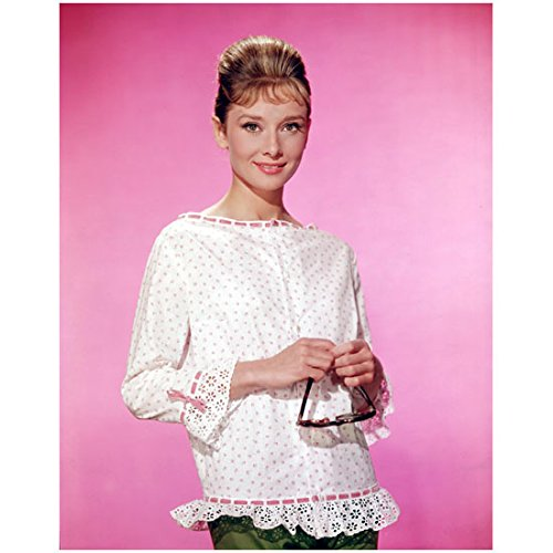 Audrey Hepburn 8 x 10 Photo My Fair Lady Funny Face Sabrina Breakfast at Tiffany's Frilly White Top Holding Shades - Shades Audrey Hepburn