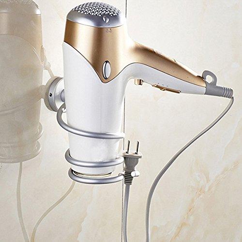Bathroom Storage & Organisation - Salon Chrome Bathroom Wall Mounted Hair Dryer Holder Rack Storage Tail Plug Hook - Haircloth Tomentum - 1PCs