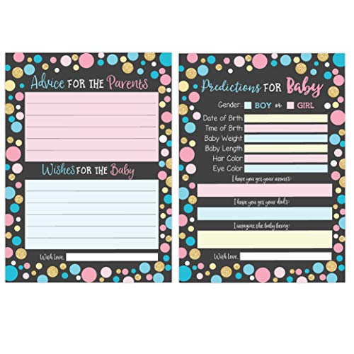 Baby Shower Prediction Cards, Advice Cards, Gender Reveal Prediction Cards, Wishes for Baby, Baby Shower Games, Gender Reveal Party Games, 50 -
