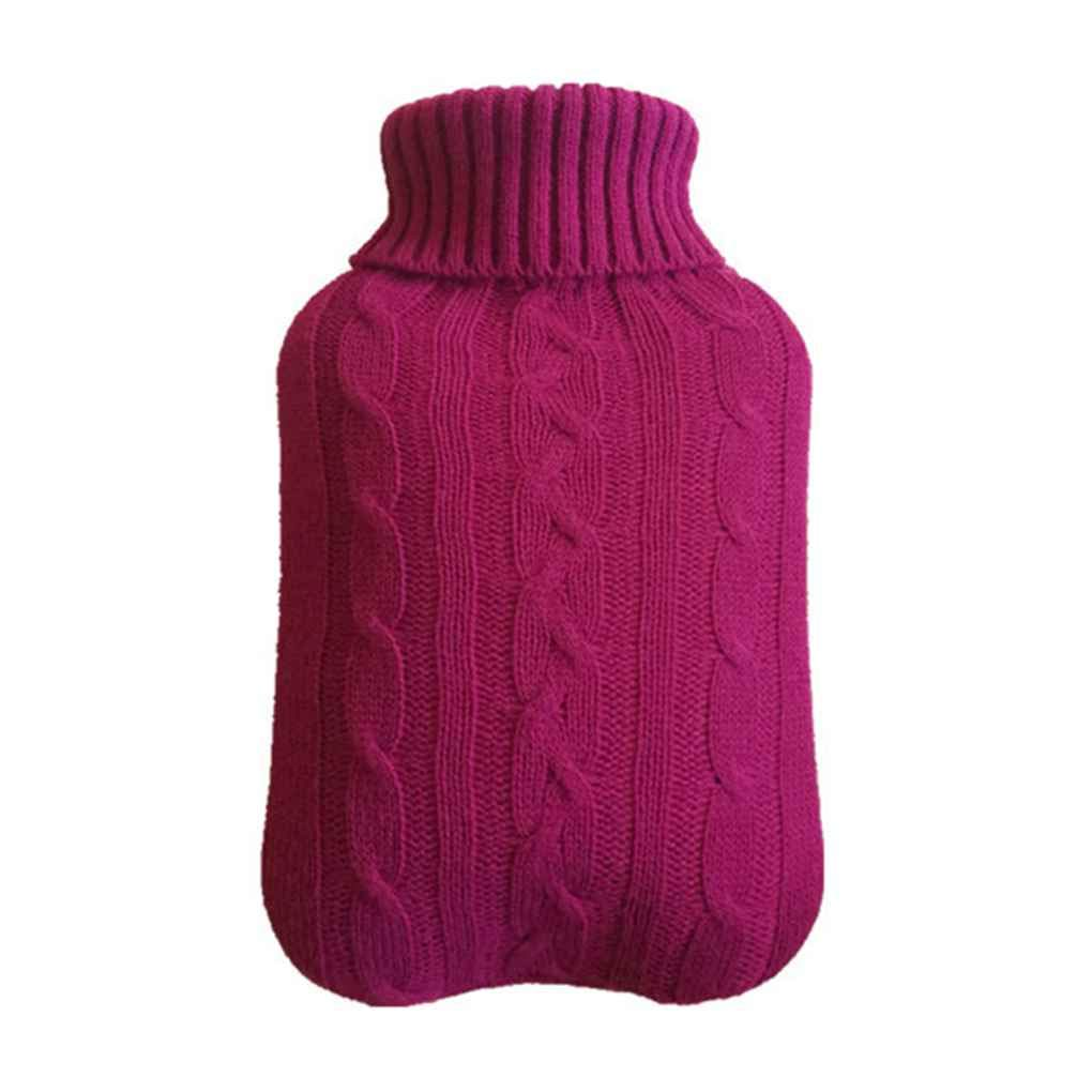 Morza Portable 2000ml Hot Water Bottles Cover Knitted Winter Warm Hand Warmer Water Bag Knitting Clothes