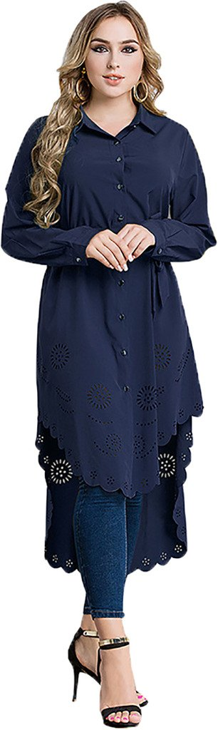Ababalaya Women's Casual Long Sleeve Muslim Kaftan Malaysian Long Blouse with Wrap M-6XL,Navy Blue,Tag Size 6XL = US Size 18W-20W