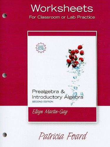Worksheets for Prealgebra & Introductory Algebra