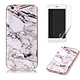 for iPhone 6/iPhone 6S Marble Case with Screen Protector,OYIME Creative Glossy Gray & White Marble Pattern Design Protective Bumper Soft Silicone Slim Thin Rubber Luxury Shockproof Cover