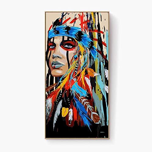 (DIY Oil Painting by Numbers Art Paint by Number on Canvas Indian Colorful Costume Woman Totem Decoration Wild Feathers face Aisle Stairs)