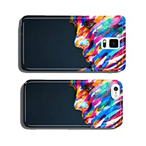 Portrait of the bright beautiful girl with art colorful make-up cell phone cover case iPhone6 Plus