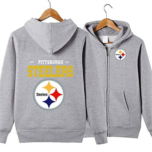 JJCat Men's Long Sleeve Hooded Letters Print Pittsburgh Steelers Football Team Solid Color Zipper Hoodies(XL,Grey)