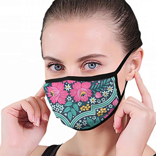 Fashion Mouth Mask,Decorative Flowers Patchwork Tiles Nature Unisex Anti-Dust Face Mouth Muffle Mask For Kids Teens Men Women, Windproof Motorcycle Face Emoticon Masks For Ski Cycling Camping