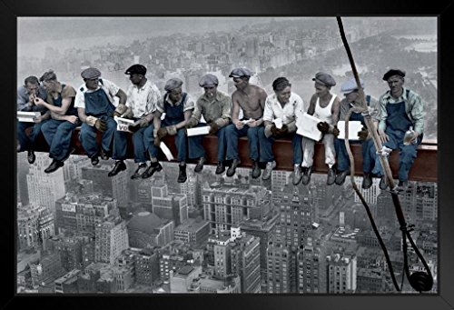 Pyramid America Charles C Ebbets Lunch ATOP A Skyscraper Crossbeam RCA Building Rockefeller Center Colorized Framed Poster 20x14 inch