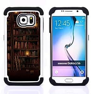- bookshelf library wall ladder art design/ H??brido 3in1 Deluxe Impreso duro Soft Alto Impacto caja de la armadura Defender - SHIMIN CAO - For Samsung Galaxy S6 G9200
